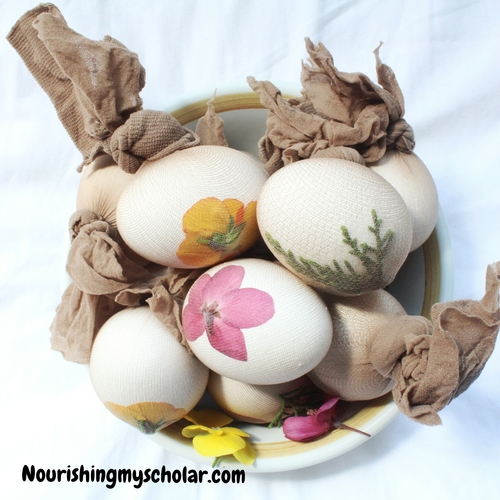 Easter Egg Dyes with All Natural Ingredients and Flower Stencils