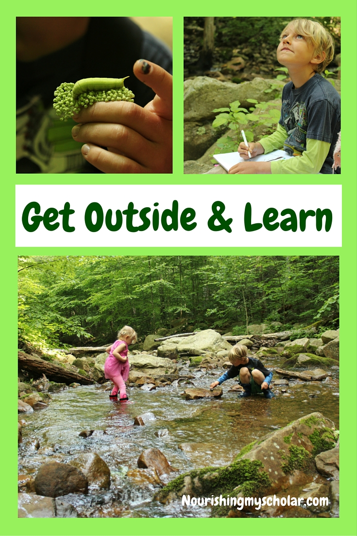 Get Outside & Learn: What do you do when your children are full of energy and bouncing off the walls? If your children are anything like mine, then they are filled with a boundless energy. This natural occurrence can be hard to contain indoors. We like to make our way outside where there are no walls to bounce off of... #outside #getoutside #nature #naturestudy #homeschool #homeschooling