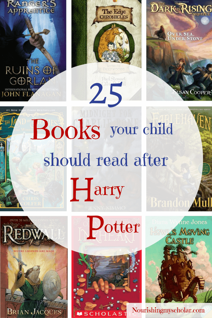 25 Books Your Child Should Read After Harry Potter: Unfortunately, there is no replacing Harry Potter, but there are fantastic books and book series to keep your child engaged, entertained, and reading. Many we have read, are reading, or are on our list to read. Here are 25 books your child should read after Harry Potter! #HarryPotter #homeschool #parenting #kidlit #raisingreaders #chapterbooks #adventurebooks #fantasybooks #fantasybooksforkids