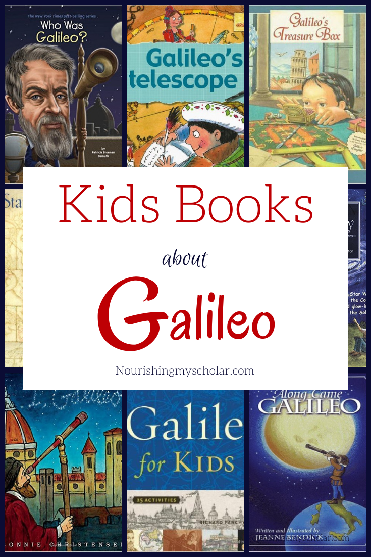 Kids' Books about Galileo: Kids books about Galileo are a great way to introduce children to this amazing scientist and astronomer! Galileo improved the telescope and thus discovered sunspots, tracked the phases of Venus, and puzzled over the rings of Saturn. He also went on to discover the four massive moons of Jupiter! Now your kids can learn more about this amazing scientist. #homeschooling #ihsnet #galileo #kidsbooks #kidlit #Astronomy #kidsastronomy #unitstudy #kidscience