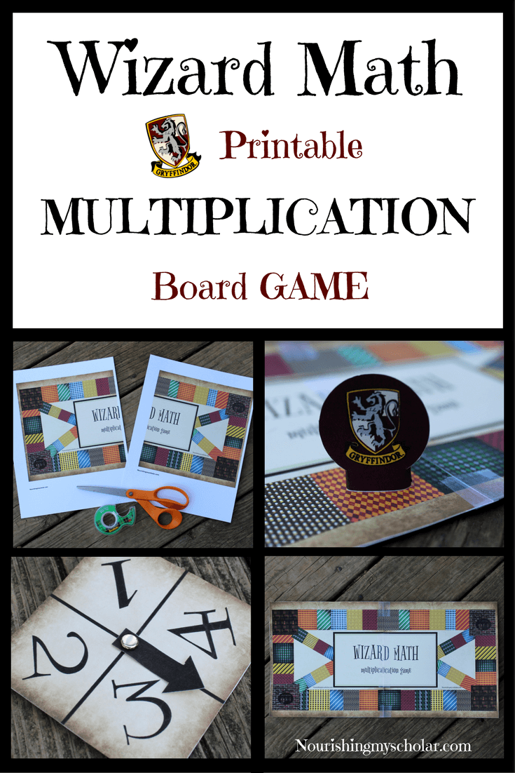 Wizard Math Printable Multiplication Board Game: Kids will love practicing their Multiplication math facts with this one of a kind Wizard Math Printable Multiplication Board Game! #homeschool #homeschooling #printable #HarryPotter #HarryPottermath #mathgame #kids