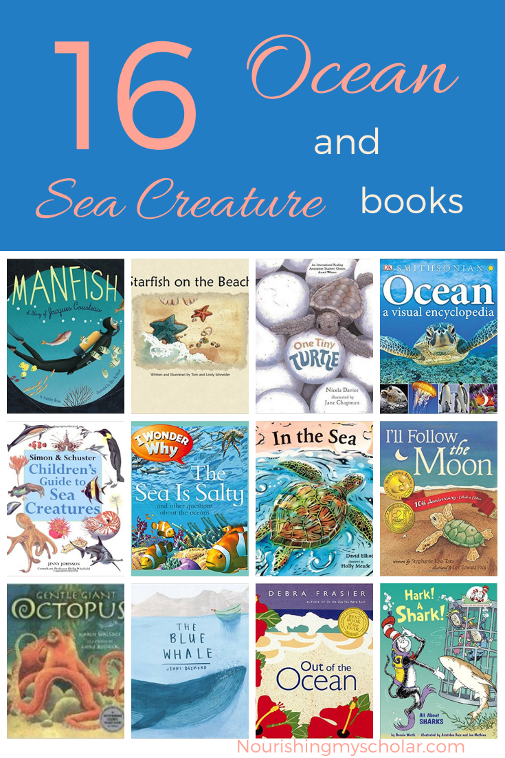 16 Ocean and Sea Creature Books: Does your kiddo love to read ocean and sea creature books? Are they obsessed with the deep sea and all the inhabitants therein? Here are 16 of our favorite kid's books all about the ocean and the animals that live there! #homeschool #oceanunitstudy #childrensbooks #ihsnet #kidlit #kidbooks #seabooks #homeschooling #beachbooks #seacreaturebooks
