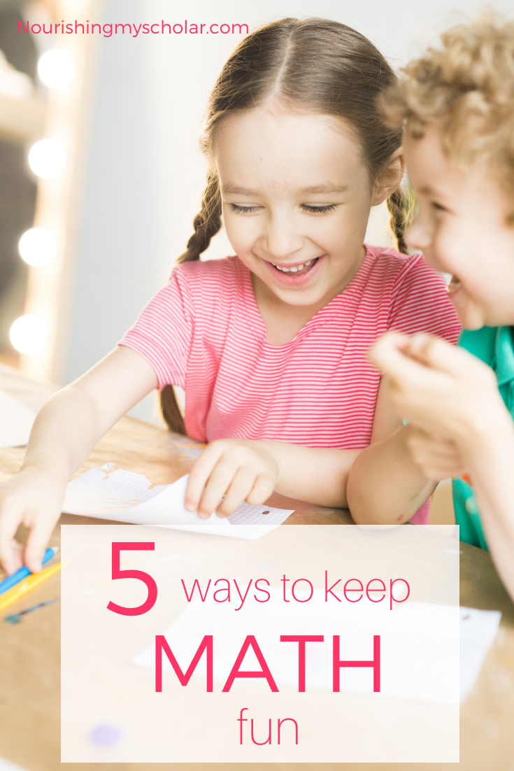 5 Ways to Keep Math Fun: Keep math fun for your kids with these awesome ideas that are super easy to incorporate into everyday life. #math #homeschool #homeschooling #mathhelp #mathforkids #kidsmath #mathfun #gameschooling #mathactivities