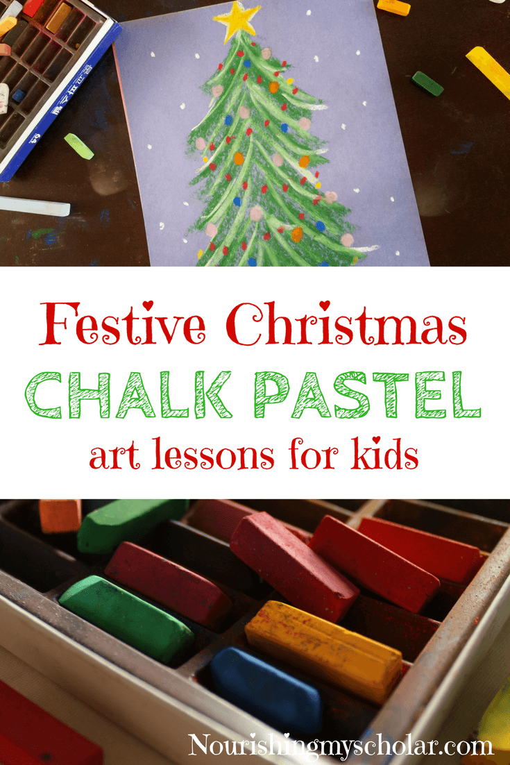Festive Christmas Chalk Pastel Art Lessons For Kids: Christmas chalk pastel art lessons have helped me make a chaotic holiday weekend just a little bit more delightful for my children. Throw in a bit of hot cocoa and some gingerbread and suddenly a stressful day becomes something magical. #homeschooling #Christmas #chalkpastels #pastelchalk #winterart #Christmasart #Christmasactivity