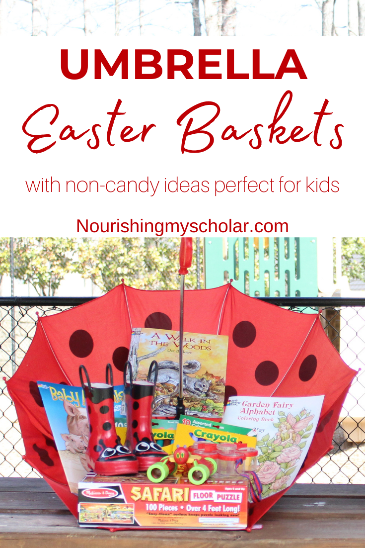 Umbrella Easter Baskets: Instead of a traditional Easter basket try these unique Umbrella Easter Baskets with these Non-Candy ideas perfect for kids! #giftideas #homeschooling #umbrellabaskets #easterbasket #easterbasketideas #noncandyeasterideas #spring #noncandy