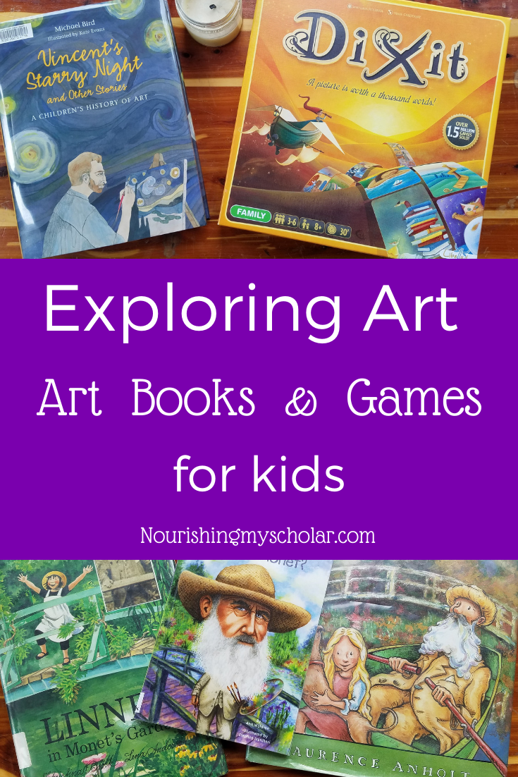 Exploring Art: Art Books and Games for Kids - Need some art inspiration for your homeschool? I've got over 30 art books plus art related games to help you make the most of the master artists! #art #artbooks #artbooksforkids #artgames #artstudy #childrensbooks #kidlit #homeschool #homeschooling #homeschoolart