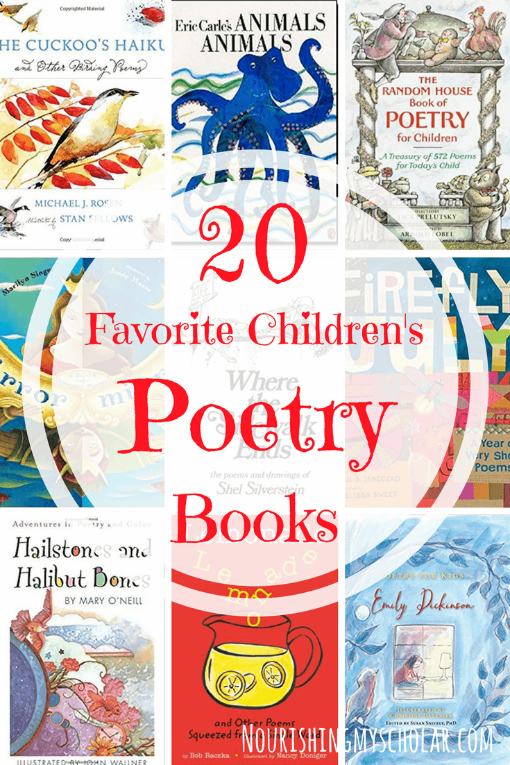 20 Favorite Children's Poetry Books: Children's poetry books are a rich way for kids to enjoy limericks, poetic stanzas, tongue twisters, and rhymes. Through poetry, they learn the joy of play on words, puns, and metaphors all while using their imaginations. #poetry #kidlit #books #childrensbooks