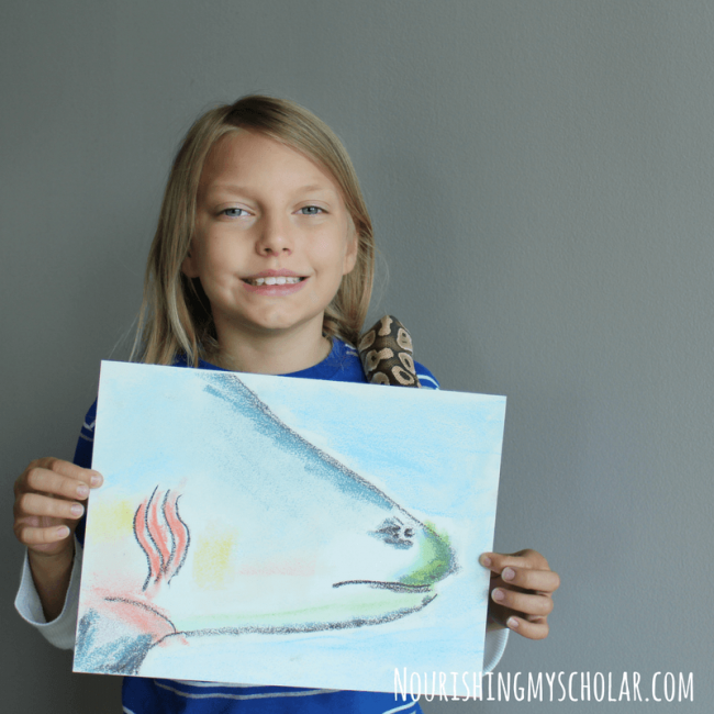 Shark Week Art for Kids with Chalk Pastels