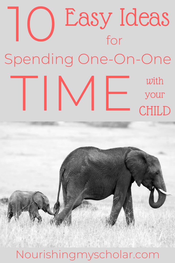 10 Easy Ideas for Spending One-On-One Time With Your Child: One-On-One Time with your kids. Is it even possible? Yes, Here are 10 easy ways to incorporate one-on-one time with your kids. #homeschool #homeschooling #parenting #bravewriter #bravewriterlifestyle #oneononetime