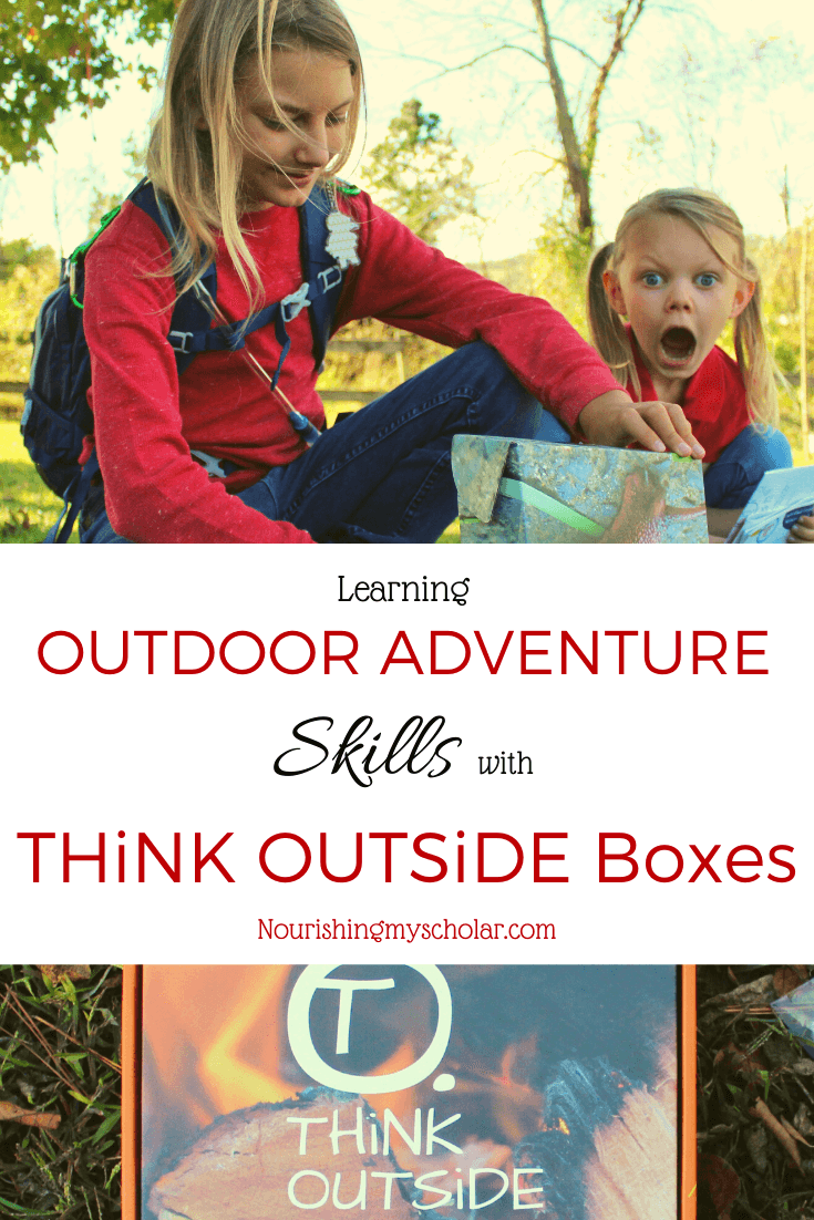 Learning Outdoor Adventure Skills with THiNK OUTSiDE BOXES: Are your kids interested in survival skills? Perhaps you are looking for resources to help you and your children get outdoors more often. THiNK OUTSiDE BOXES are perfect for kids and their families as they learn about the importance of survival skills while encouraging adventure, and hands-on nature activities. #firesafety #homeschool #homeschooling #nature #outdoorsubscriptionbox #outdoorsubscriptionboxforkids #outside #science #subscriptionbox #subscriptionboxforkids #firesafetyforkids #thinkoutsideboxes #thinkoutsideboxesreview