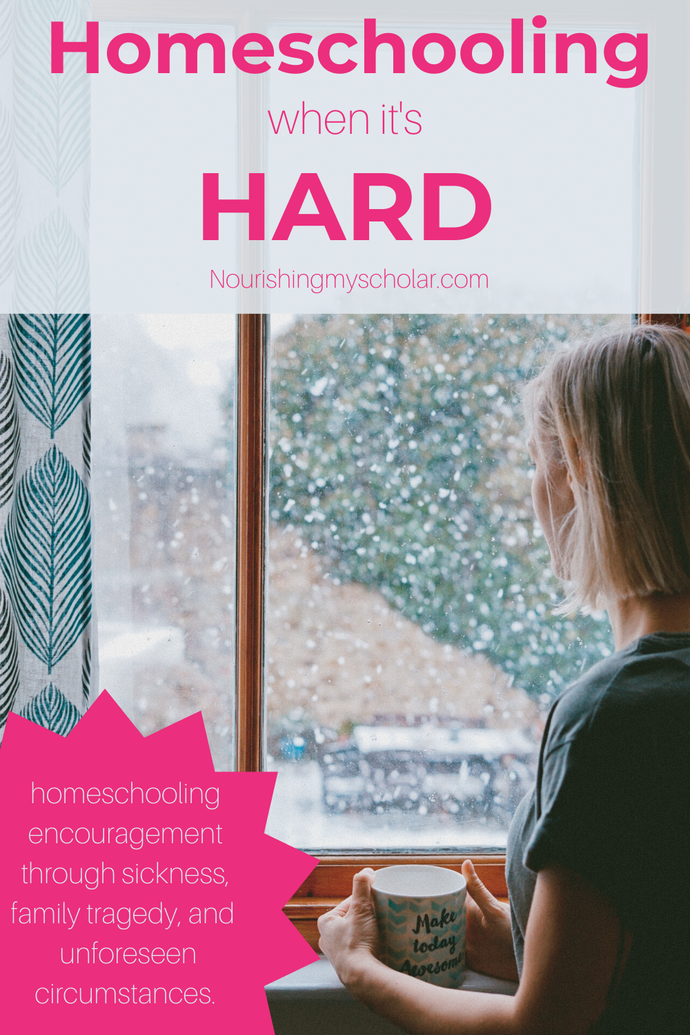 Homeschooling When it's Hard: The only way to approach hard homeschool days is to approach them one day at a time.  Try to stay present with your kiddos. Choose to connect with them every chance you get. #homeschool #homeschooling #homelearning #homeeducation #homeschoolmom #learningathome