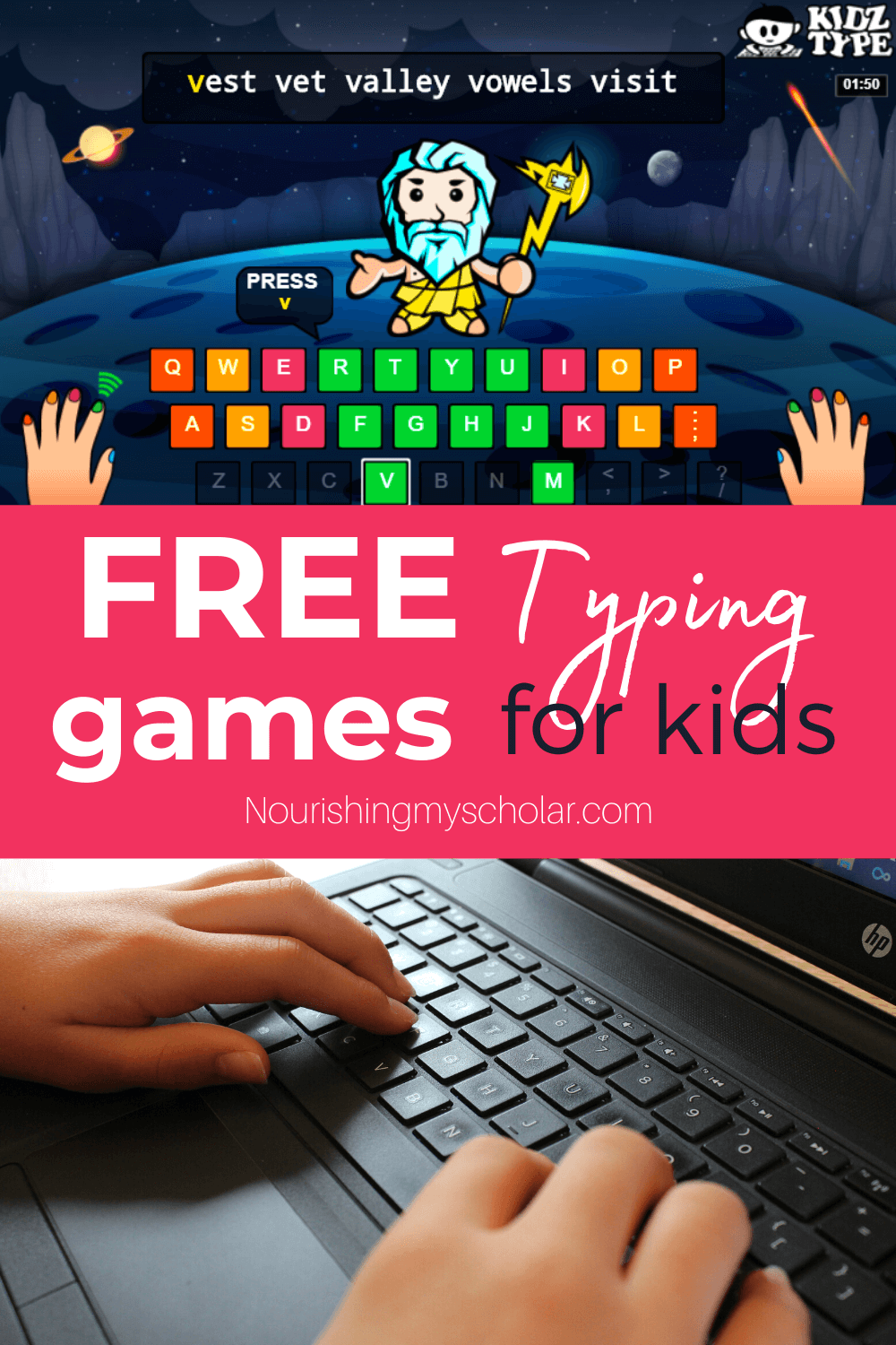 Free Typing Games for Kids: Free typing games and practice make learning touch typing fun and easy for your kids! Check out these games for all skill levels! #freetyping #freetypinggames #freetypinggamesforkids #kidstypinggames #typingpracticegames #typingforkids #typinggamesforkids #KidzType #homeschool
