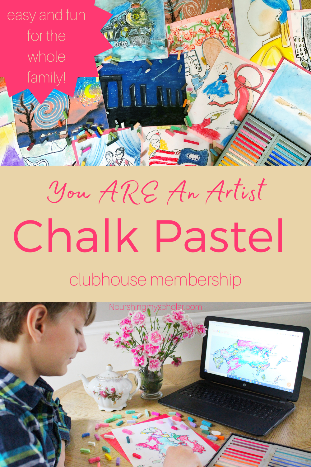 You ARE An Artist Chalk Pastel Clubhouse: Are you looking for an easy way to incorporate art into your homeschool? Are you looking for an art curriculum that's great for kids of all ages? You ARE An Artist Chalk Pastel Clubhouse is quick, easy, and perfect for ages Pre-school through adult! #homeschool #art #homeschoolart #artlessons #artlessonsforkids #chalkpastels #chalkpastelsforkids #chalkpastelmembership #chalkpastelclubhouse #youareanartist
