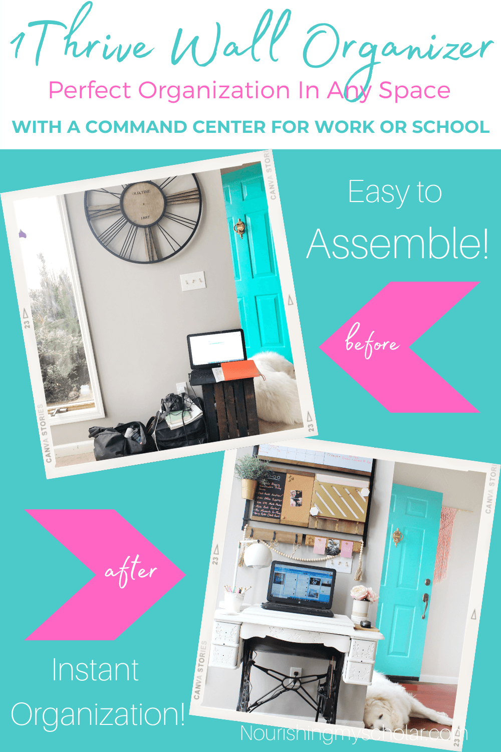 Getting Organized with a 1Thrive Wall Organizer: If your looking for a wall organizer for your home office, homeschool space, or family space then check out my review of 1Thrive's Susan command center! It is perfect for organizing schedules, papers, documents, and more! #commandcenter #familyorganization #familywallorganizer #homeoffice #homeschoolwallorganizer #officespacerefresh #officespaceupdate #officewallorganizer #organization #organizationideas #organizedhome #wallorganization